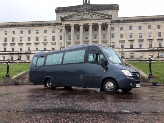 Curran Minibus outside Stormont Castle, Northern Ireland - we have a large fleet of coaches & buses for hire for tours throughout Ireland